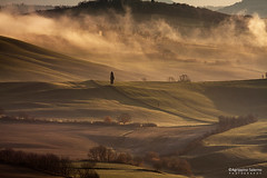 Tuscan countryside (Agrippino Salerno) Tags: valdorcia tuscany italy hills morning manfrotto agrippinosalerno canon fog misty trees cypress countryside goldenhour travel green beautiful tramonto paesaggio erba cielo collina strada montagna