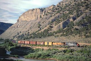 SP 8307 Westbound Freight along the Colorado River near Dotsero, CO July 25, 1997