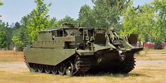 Canadian Army Centurion Armoured Recovery Vehicle (ARV) Mk 2, 1954. (edk7) Tags: olympuspenliteepl5 edk7 2016 canada ontario simcoecounty canadianforcesbaseborden cfbborden canadianforcessupporttraininggroupcfstg basebordenmilitarymuseum majorgeneralffworthingtonmemorialpark worthingtonpark openairmuseum openaircollection tankcollection canadianarmy vickersarmstrongsltd centurionarmouredrecoveryvehiclemk2 arv 1954 coldwar military weapon ordnance machine mechanical track idler gun turret armour engineering rollsroycemeteorwatercooled27litrev12britishtankengine650hp rearviewshowingrecoveryequipment