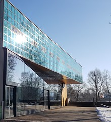 Annex to the old theatre in Hildburghausen (:Linda:) Tags: germany thuringia town hildburghausen bluesky modernarchitecture theatre
