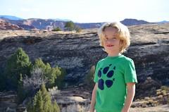 Everett On The Cave Springs Trail (Joe Shlabotnik) Tags: nationalpark utah hiking 2017 justeverett canyonlands everett november2017 canyonlandsnationalpark afsdxvrzoomnikkor18105mmf3556ged