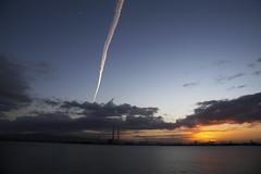Sunset trail across dublin port as sundown. (ken Dowdall) Tags: sunset sundown dusk dublin ireland colourful colour