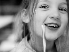 Gabriella (livsillusjoner) Tags: kid young child cute girl smile smiling laught monochrome bw blackwhite blackandwhite portrait photo people niece family eyes blueeyes