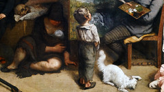 Courbet, The Studio, detail with child and Irish mother