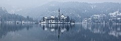 Bled Island (somabiswas) Tags: lakebled lake bled slovenia winter snow waterscape mountains throughherlens