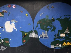 The Whole World (Jill Clardy) Tags: globe world wall mural colorful 365the2018edition 3652018 day10365 10jan18 painted art artwork selby lane school explore explored