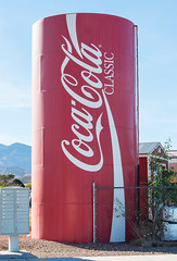 Storage Tank Painted Like a Can of Coke (scattered1) Tags: 2017 coca cocacola coke cola lasvegas nv nevada can red storage tank unitedstates us