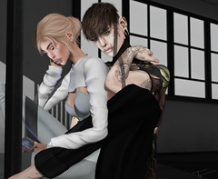 (@teayou) Tags: sl secondlife teayou male female maitreya bellezajake hair stealthic phone vco sweater croptop scandalize bodysuit modulus mancave shirt galvanized menjail pants slacks 2byte poses ana rk haikei decor