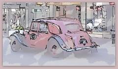 1953 Citroën Big 15 - 'Rene' (boeckli) Tags: topaz car auto fahrzeug vehicle textures texturen texture textur photoborder vintage old oldtimer alt abstract abstrakt outdoor napier newzealand citroën netartii