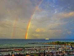 Doubly nice start to the day! (peggyhr) Tags: peggyhr rainbows ocean cruiseship marina dsc06089b hawaii niceasitgets~level1 thegalaxy super~sixbronze☆stage1☆ niceasitgets~level2 thegalaxylevel2 thegalaxyhalloffame super~six☆stage2☆silver niceasitgets~level3