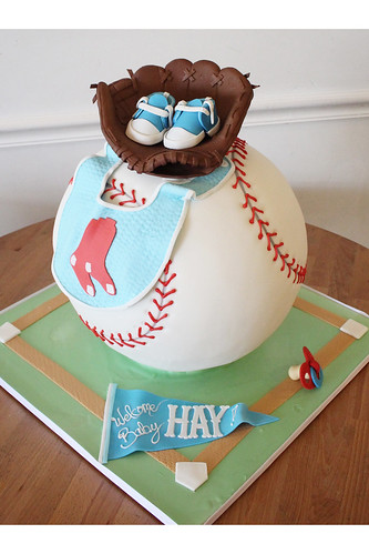 Sculpted Baseball Baby Shower Cake