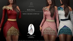 NEW! Bella Dress - Mainstore Release (Just BECAUSE_SL) Tags: dress annierose feathers sparkles glitter short prom formal casual long sleeve belleza maitreya slink original mesh skirt wrap hud collaboration collab just because secondlife sl jb sexy cute
