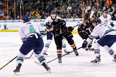 """Kansas City Mavericks vs. Florida Everblades, February 18, 2018, Silverstein Eye Centers Arena, Independence, Missouri.  Photo: © John Howe / Howe Creative Photography, all rights reserved 2018 • <a style=""""font-size:0.8em;"""" href=""""http://www.flickr.com/photos/134016632@N02/39491128325/"""" target=""""_blank"""">View on Flickr</a>"""