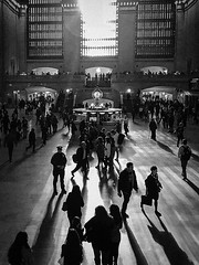 Keeping Watch (janetbland) Tags: grandcentral shadow newyork unitedstates us afternoon blackandwhite iphone7