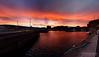 20180106-05-Hobart sunset_pano_blend (Roger T Wong) Tags: 2018 australia hobart hunterwharf ptgui rogertwong sel2470z sony2470 sonya7ii sonyalpha7ii sonyfe2470mmf4zaosscarlzeissvariotessart sonyilce7m2 tasmania clouds docks orange pano panorama sunset waterfront