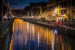 Navigli Colors (Astarotte73) Tags: milano navigli lights reflections lombardy italy christmas happyhour fascination old tradition waterway water canal navigliogrande bluehour bynight nocturnal