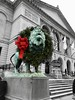 """All I am is literature, and I am not able or willing to be anything else."" ―Franz Kafka ❄️🎄❄️ (anokarina) Tags: appleiphone8 colorsplash loop chicago illinois il lion bronze statue wreathe holiday red green aqua christmas winter xmas decoration ribbon stairs steps usflag artinstituteofchicago mane animal chicagoist"