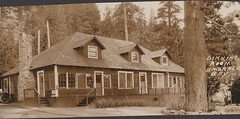 Page 86, no. 2: Emerald Bay dining room (InstaDerek) Tags: 1920s laketahoe tahoe emeraldbay california sierranevadas mountains monochrome building diningroom misspelling spellingerror architecture postcard forest caption chimney