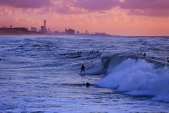Surfing at sunset - Tel-Aviv beach - Follow me on Instagram:  @lior_leibler22 (Lior. L) Tags: surfingatsunsettelavivbeach surfing sunset telaviv beach