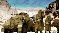 Into the Canyon (WesternOutlaw) Tags: afrikakorps dak afrikakorpsdiorama kingcountry kingandcountry toysoldiers 130 130scale 222 sdkfz222 armoredcar 222armoredcar ratpatrol rommel erwinrommel worldwarii