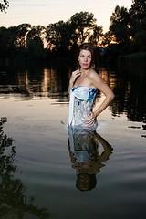 Karens sunset dip (Wet and Messy Photography) Tags: wet wetlook wetdress wethair longhair lake swim swimming karen dive submerged