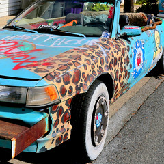 Leopard Skin Camry (fe2cruz) Tags: camry skate custom handpainted destroy 1991 leopard toyota paint cyan spraypaint convertible fender 7dwf