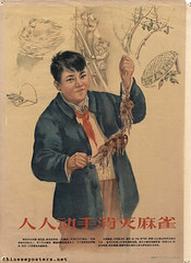 Everybody must get to work to eliminate the sparrows (chineseposters.net) Tags: china poster chinese propaganda 1956 boy pioneers sparrow trap