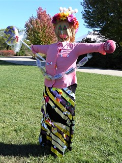 Lisle, IL, Morton Arboretum, Scarecrow Titled Sweet for Mother Nature