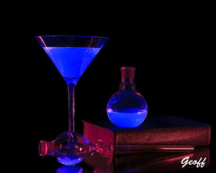 Drinkology (gwhiteway) Tags: drinkology science art book chemicals black light uv foods chemistry abstract reading mixture solution liquid colorful booze drinking poison toxic mad