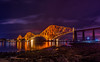 The Night Train (ThePunkyScotsman) Tags: bridge railway train lighttrail longexposure edinburgh queensferry iron reflection ocean water night nightscape shore