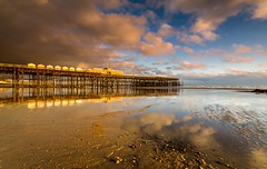 Reflections of a rebuild - Hastings Pier - Sussex (E_W_Photo) Tags: hastings pier sussex sunset beach sand sea clouds wreck ruin rebuilt hut uk england canon 80d sigma 1020mm leefilters reflection