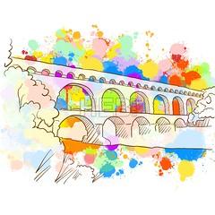 Colorful Pont du Gard Sketch (Hebstreits) Tags: aqueductgard aqueductofsegovia colorful famousinfrance france gardbridge icon illustration landmark nimes pontdugard pontdugardicon pontdugardillustration pontdugardvector rivergardon romanaqueduct sign sketch vector verspontdugard