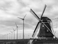 Progress (iPhone Fotograaf) Tags: clouds landscape blackandwhite iphone8plus groningen dutch windmill
