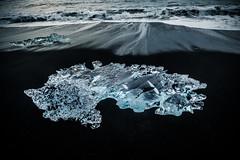Diamond in the sea (johanna151) Tags: iceland island nature ice diamond landscape sea water winter cold waves black sand