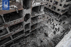 Buildings in Syria destroyed by the recent airstrikes in the city of Ghouta