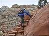 Up She Goes (Runemaker) Tags: patricia hiking cassidyarch trail capitolreef nationalpark utah nature landscape wilderness mountains cliffs woman steps