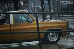 Old Gold (Hi-Fi Fotos) Tags: chevy custom deluxe c20 pickup truck gold vintage american classic city urban rain wet nikkor 105mm micro 28 nikon d7200 dx hififotos hallewell