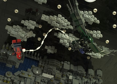 The Vulture Strikes! (Ben Cossy) Tags: lego spiderman spider man homecoming 2017 2018 vulture peter parker new york iron sky micro scale moc afol tfol stars clouds night moon bird web thwip diorama vig bv brickvention