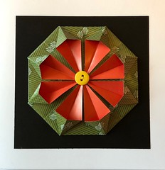 Origami cards (anuradhadeacon-varma) Tags: yellowbutton duopaper doublesidedpaper papercrafts origamipaper origamichrysanthemum origamigreetingcard buttons greetingcard chrysanthemum
