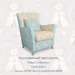 teepees-chair-mockup-yellow-aqua-by-Floweryhat (FLOWERYHAT DESIGNS) Tags: floweryhat spoonflower sewing stiching pastel fabric fabrics baby children chair cotton cushion mockup cute yellow polyester upholstery upcycling teepee tipi teepees aqua mint turquoise feathers butter arrows flowers roses trend pod pillow print printondemand
