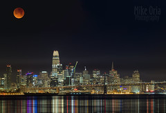 Super Blue Blood Moon-apalooza (mikeSF_) Tags: california sanfrancisco moon eclipse lunar lunareclipse bluemoon bloodmoon supermoon night skyline transamerica baybridge bridge salesforce alameda mikeoria photography wwwmikeoriacom