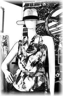Mannequin in a Panama hat