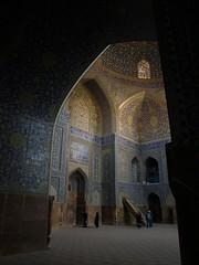 P9254783 (bartlebooth) Tags: esfahan esfahanprovince isfahan isfahanprovince iran persia middleeast mosque masjid bluemosque shahmosque imammosque royalmosque unesco tile blue iranian architecture naqshejahansquare mosaic olympus e510 evolt silkroad persian mihrab minbar qibla