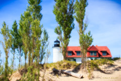 Point Betsie Lighthouse (Robert F. Carter Travels) Tags: lighthouses pointbetsie pointbetsielighthouse pointbetsy pointbetsylighthouse dunes sanddunes trees noon midday