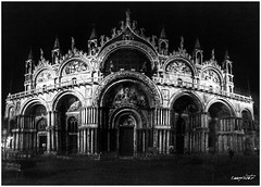 San Marco, Venezia - Saint Mark, Venice (Massimo Vitellino) Tags: church cathedral religion travel outdoor night lights shadows perspective structure architecture medieval noperson contrast conceptual cityscape hdr blackandwhite