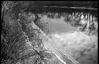 winter river vista, reflections, ice, French Broad River, Carrier Park, Asheville, NC, Olympus XA, Artista.Edu 200, Moersch Eco Film Developer
