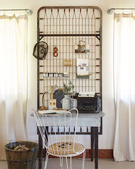 Repurposed Boxspring (Heath & the B.L.T. boys) Tags: rustic industrial office desk repurpose wire chair typewriter basket pipes curtains tablelamp numbers burlap chalkboard