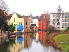 Ghent in wintertime (2) (jackfre 2) Tags: belgium ghent gent gand flanders winter buildings riverleie leie bridge water river sky arch building reflections