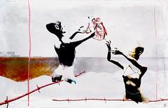 Pieces of a lost heart / Artist : Theda Tammas (Bamboo Barnes - Artist.Com) Tags: thedatammas secondlife art surreal digitalart virtualart manipulation texture women heart vein birdwire water black white grey red yellow vivid bamboobarnes statue