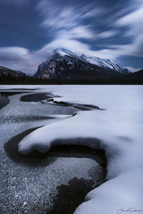 Shadows in the Dark (Aron Cooperman) Tags: alberta aroncooperman banff canada january2018 landsacpe openlightphoto snow nikond850 vermilionlake mtrundle vermiliontwo lake water snowy frozenlake banffnationalpark night nikon nikon2470 nightscape nightsky sky clouds winter mountain landscape longexposure